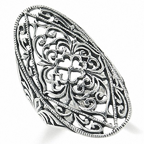 35MM 925 Sterling Silver VICTORIAN STYLE FILIGREE Ring Size 5.5