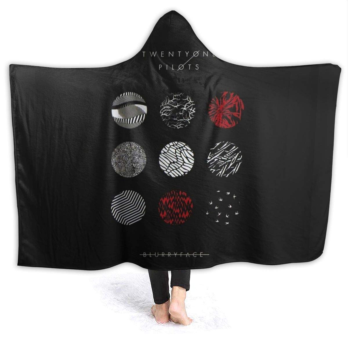 """FriedaJO 21 Blurryface Pilot Hooded Blanket Fleece Warm Hooded Throw Wrap Ultra Soft Blanket for Adults and Children 80""""x60"""""""