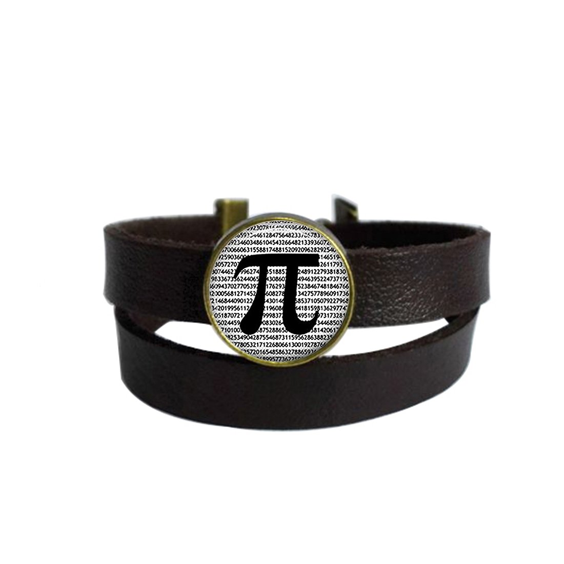 LooPoP Vintage Punk Dark Brown Leather Bracelet Math Teachers Science Mathematics Belt Wrap Cuff Bangle Adjustable