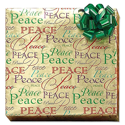 Christmas Peace Foil Rolled Gift Wrap - 38 sq. ft. metallic wrap
