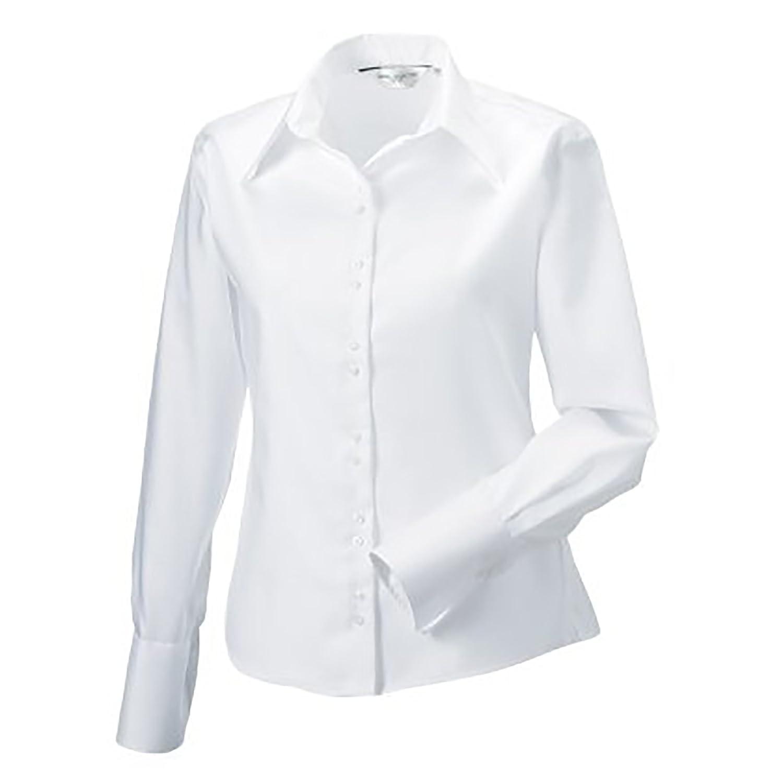 Russell Collection- Camisa de Manga Larga Que no Necesita Planchado para Mujer: Amazon.es: Ropa y accesorios
