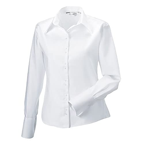 Russell Collection- Camisa de Manga Larga Que no Necesita Planchado para Mujer
