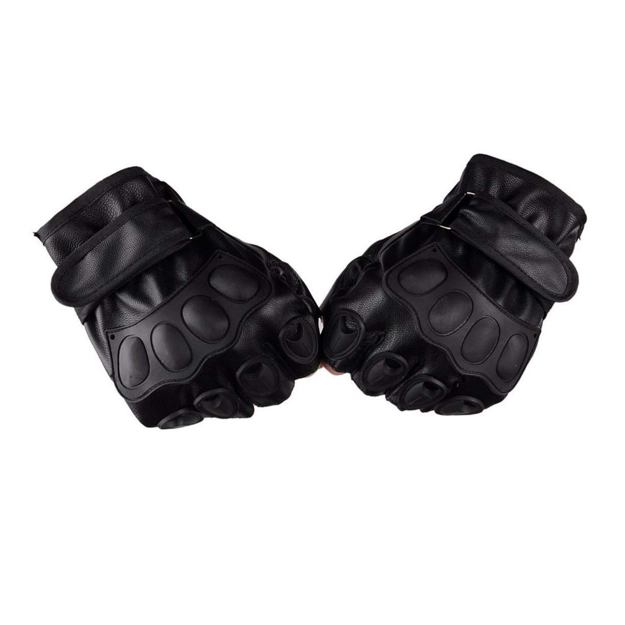 Guantes de medio dedo, guantes de medio dedo Guantes de cuero de los hombres de la PU para ejercicios tácticos de entrenamiento militar Motocicleta de deportes que liberan guantes de ciclismo Detectoy