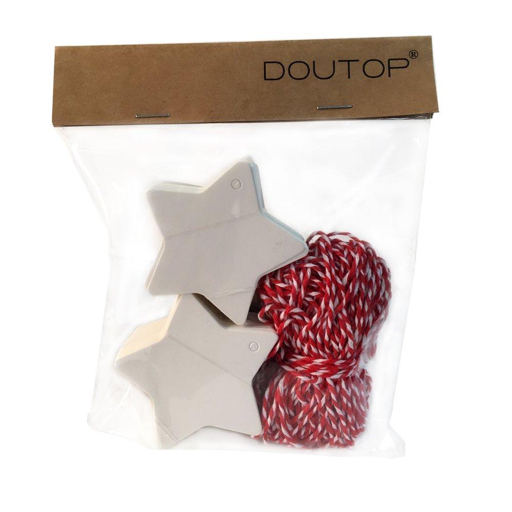 Doutop etiquetas de regalo 100/con forma de estrella de Navidad para colgar papel Craft Etiquetas con cuerda de 20/m color blanco