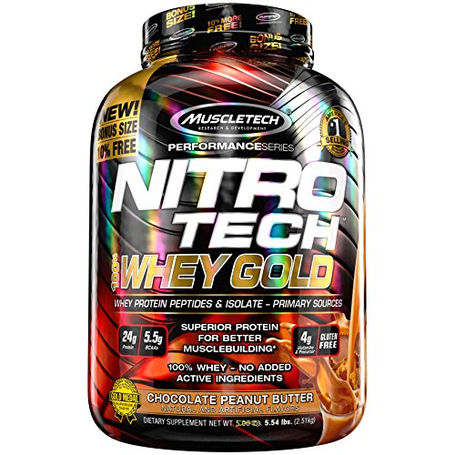Peanut Butter Block - MuscleTech NitroTech Whey Gold, 100% Whey Protein Powder, Whey Isolate and Whey Peptides, Chocolate Peanut Butter, 5.5 Pound