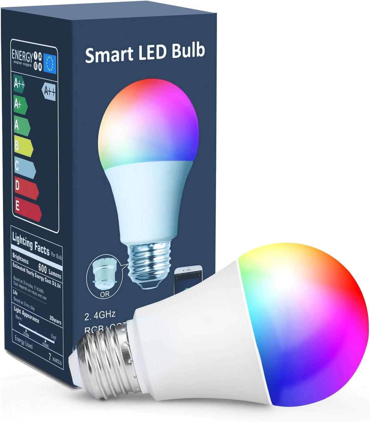 Smart WiFi Bulb Light Multicolor LED Light Compatible For Alexa Google Assistant