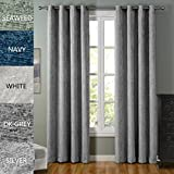 COFTY Lydia Collection Solid Blackout Polyester Chenille Velour Shaggy Curtain Drapes(set of 2 panels)- Anti Bronze Grommet - Dark Grey - 50Wx96L Inch