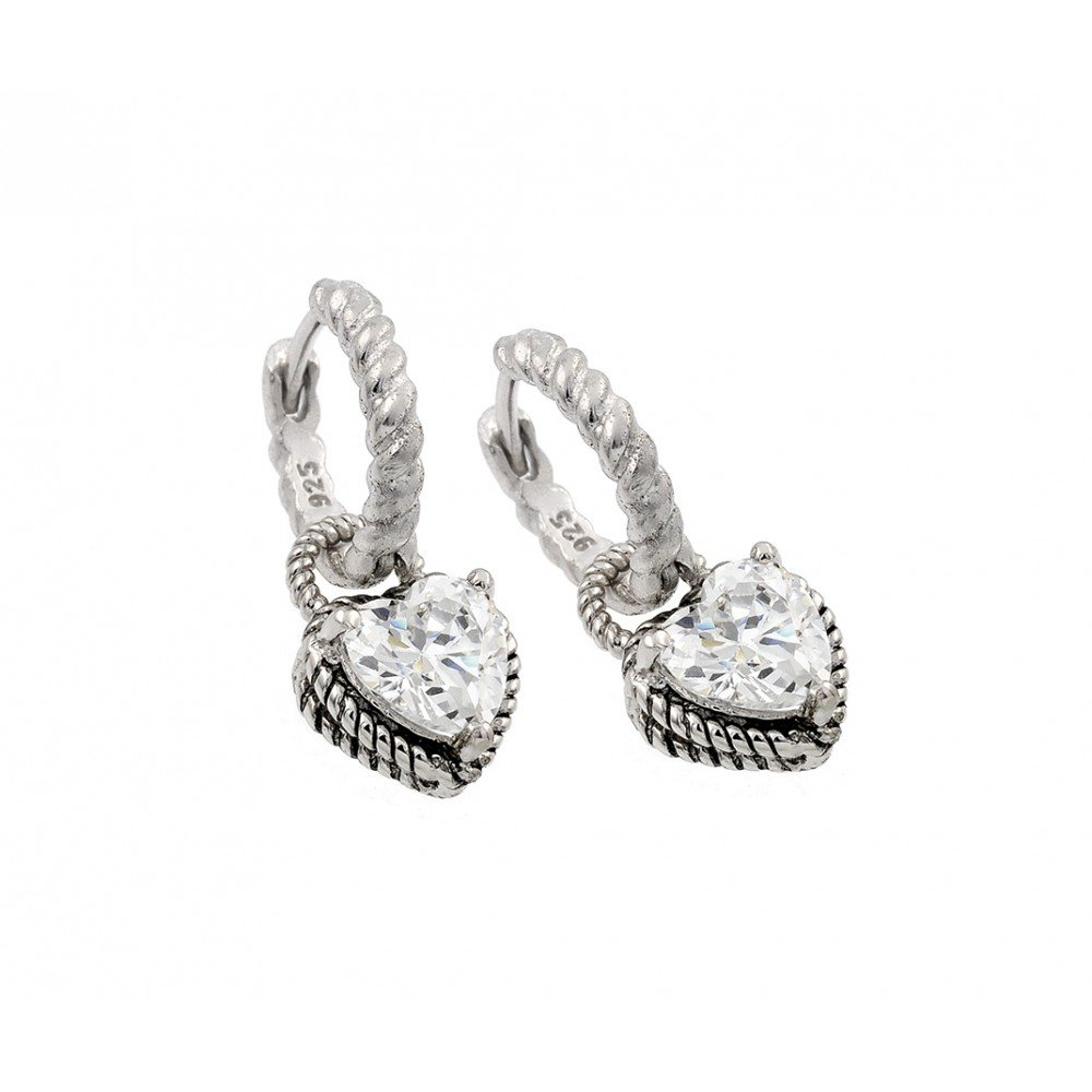 Clear Prong Set Cubic Zirconia Rope Heart Dangling Huggie Earrings Rhodium Plated Sterling Silver