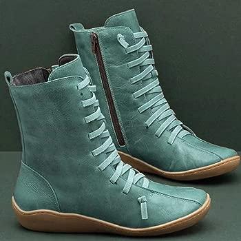 Luckycat Botines de Cuero Otoño Vintage con Cordones Zapatos de Mujer Botas cómodas de tacón Plano Cremallera Bota Alto Botas de Apoyo de Arco 2019