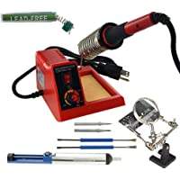 MIYAKO USA 48W Temperature Controlled Soldering Station Kit with Magnified Helping Hand, Solder Pump, Soldering Wire…