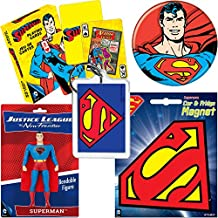 PopShoppes Superman Justice League PopBox Deluxe Set (Bendable Figure, Playing Cards, Magnet, Button and Acrylic Keychain) Cool Value!