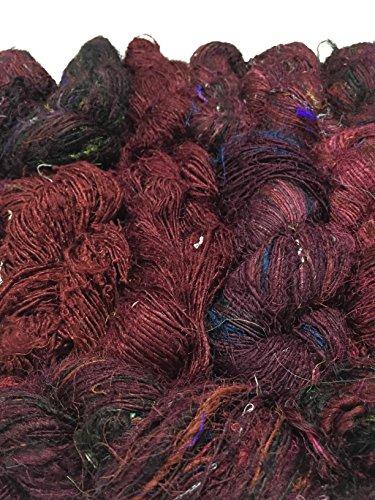 PREMIUM Recycled Sari Silk Yarn - Brown Black shade 160+ Yards   Good for Knitting, Crocheting and Jewelry Making