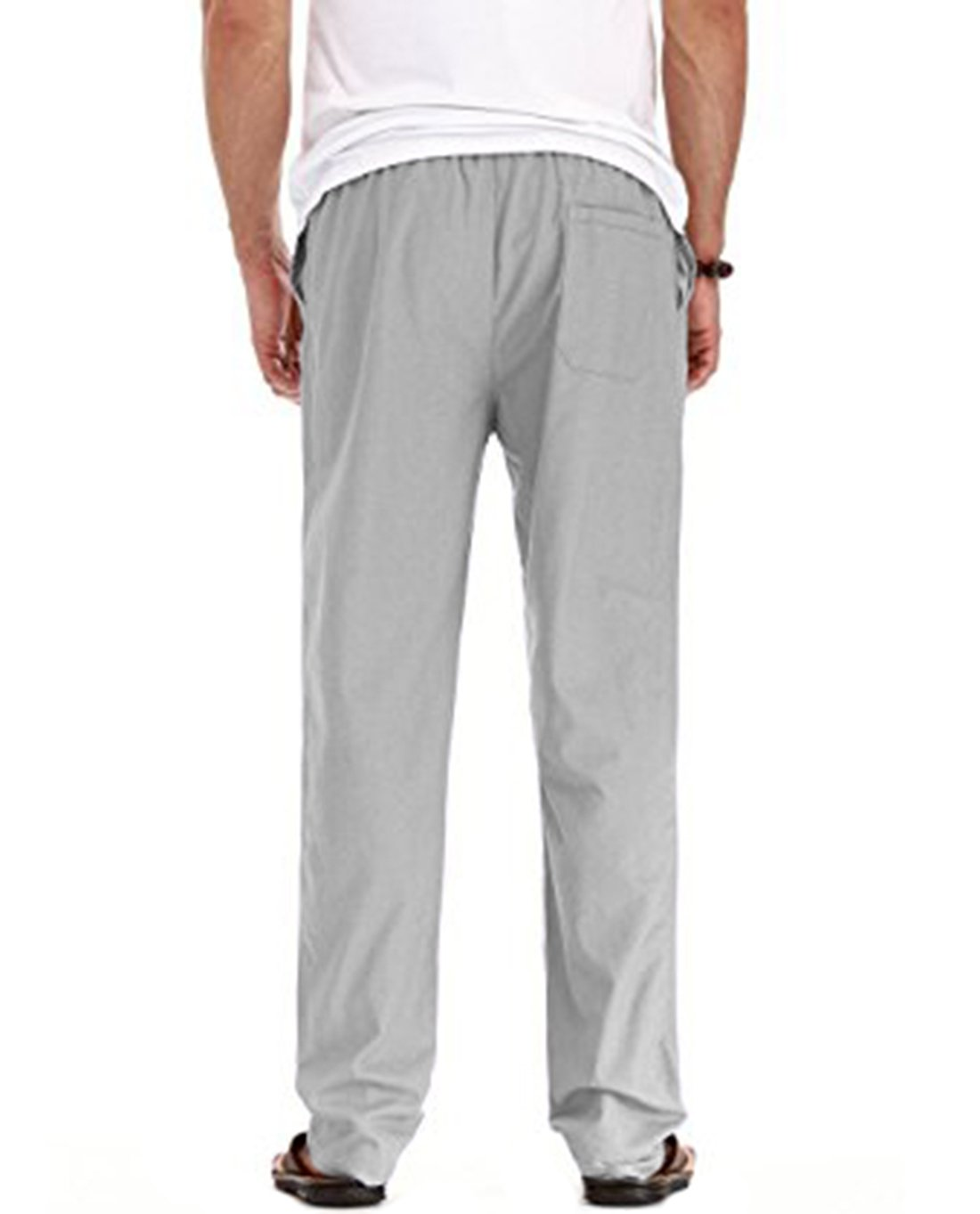 SIR7 Men's Linen Casual Lightweight Drawstrintg Elastic Waist Summer Beach Pants Light Grey 2L by SIR7 (Image #3)