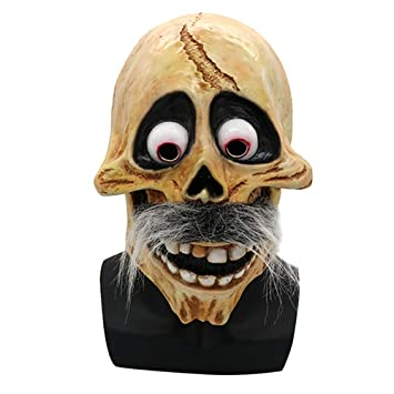 JNKDSGF Máscara de terrorScary Halloween Skull Latex Mask Full ...