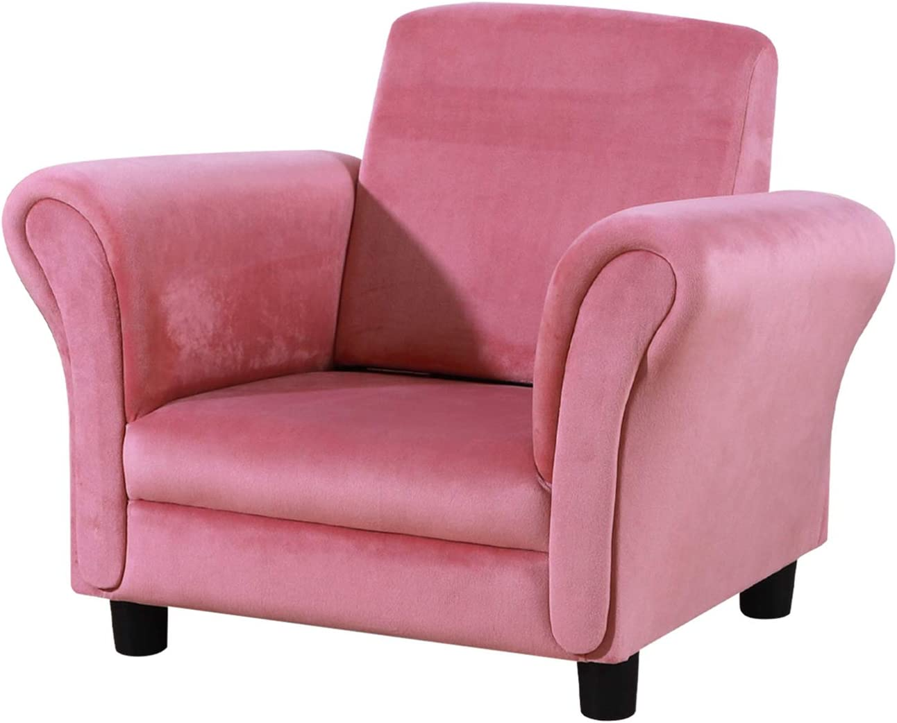 Single Upholstered Kids Armchair, Little Sofa Couch for Toddler with Wooden and Velvet (Pink)