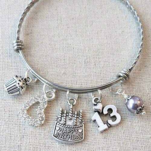 13th BIRTHDAY Gift for Her, Happy 13th Birthday Charm Bracelet, Teenage Daughter Gift Ideas, Birthday Gifts for Girls, 13 Year Old Girl Birthday