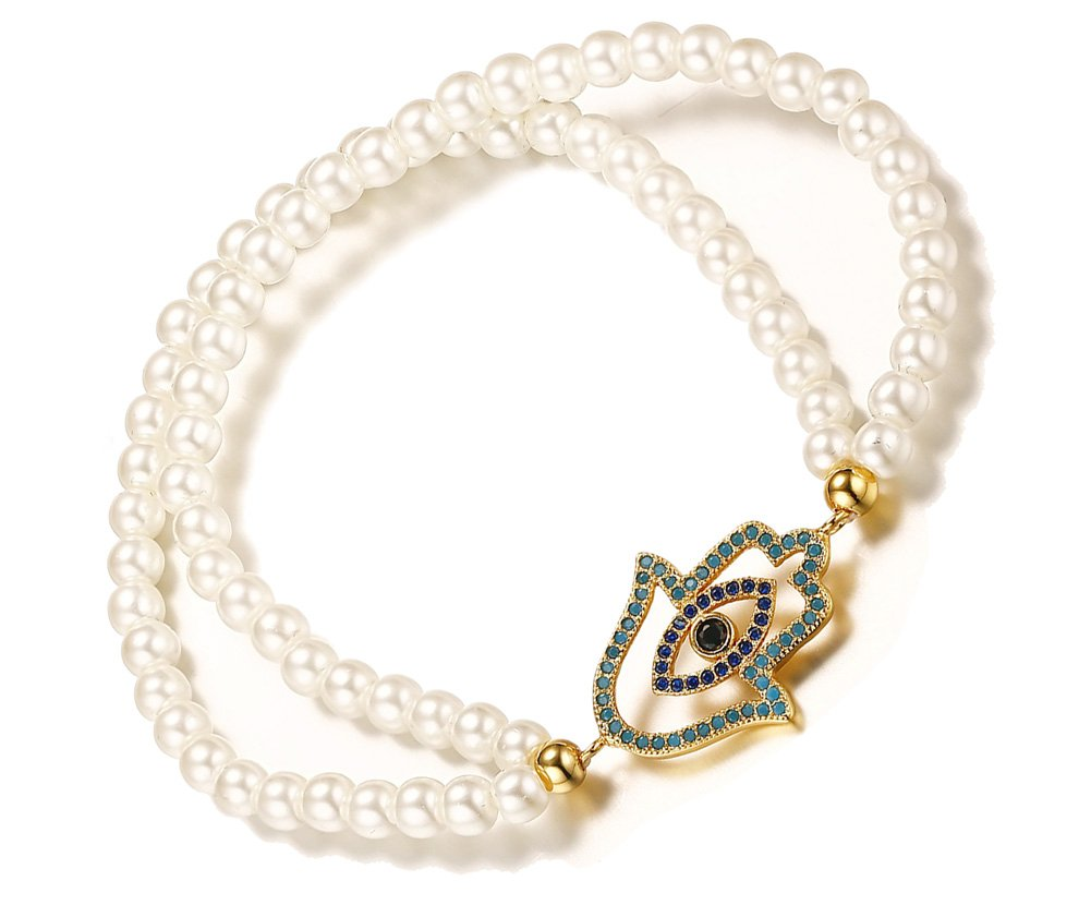 Handmade Double Layered Pearl Gold Plated Rhinestone Crystal Hamsa Hand Evil Eye Charm Bracelets