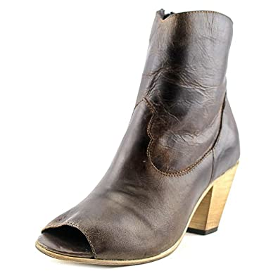 Womens Dark Brown Koko Fashion Peep Toe Leather Cowboy Boots 7 M