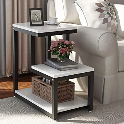 Amazon.com: Tribesigns Modern End Tables, 3 Tier Chair Side Table Night  Stand With Storage Shelf For Living Room, Bedroom, Entryway (White):  Kitchen U0026 ...