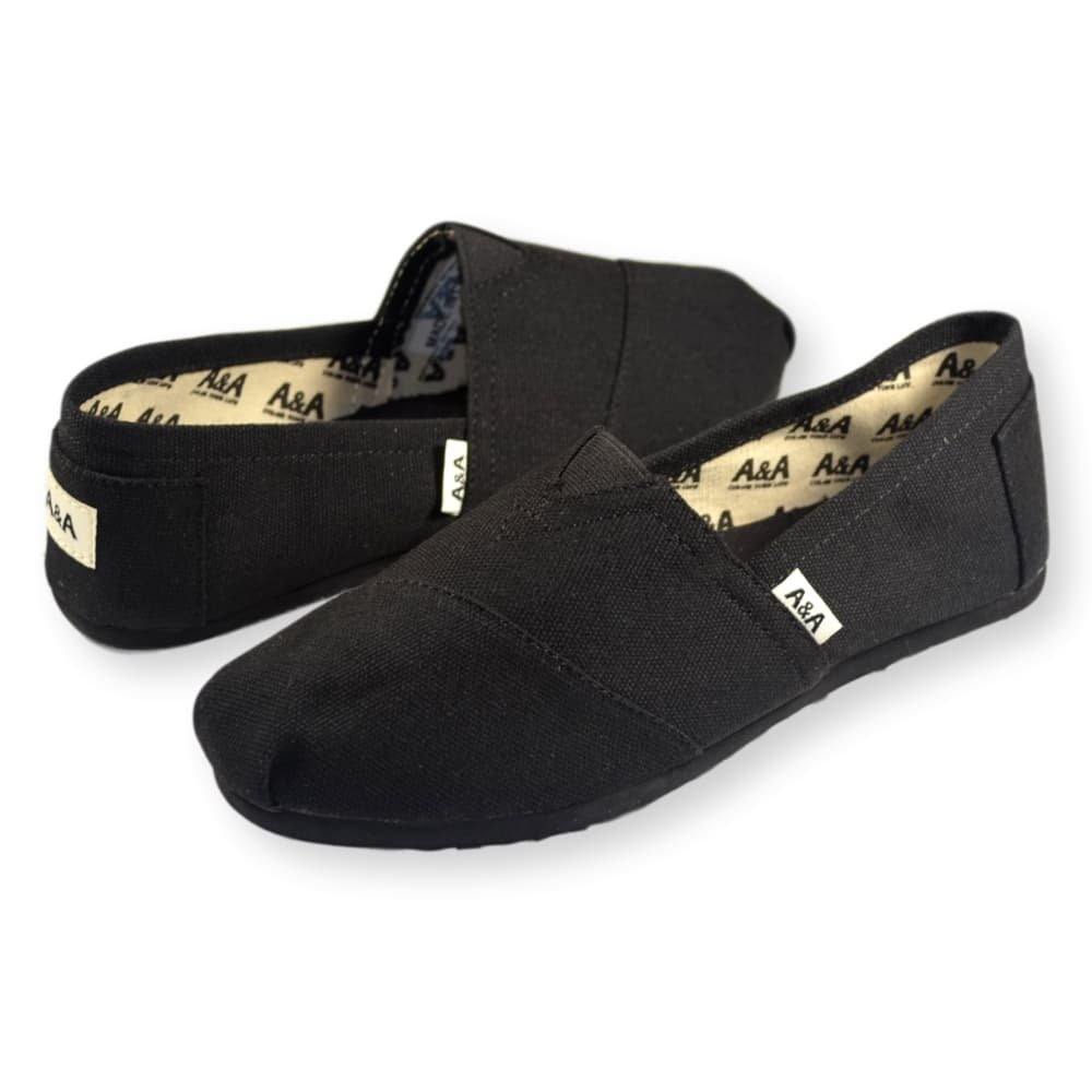 A&A Vegan Classic Slip-on Canvas Alpargatas, Casual Shoes for Women & Men (Unisex) (6 US Women / 4.5 US Men, Black on Black) by A&A (Image #6)