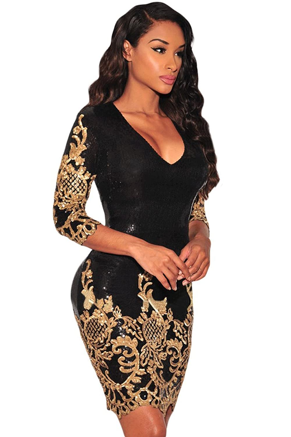 black and gold sequins dress party club new years eve comes in UK Sizes 8-10 and 12-14 (S,M)
