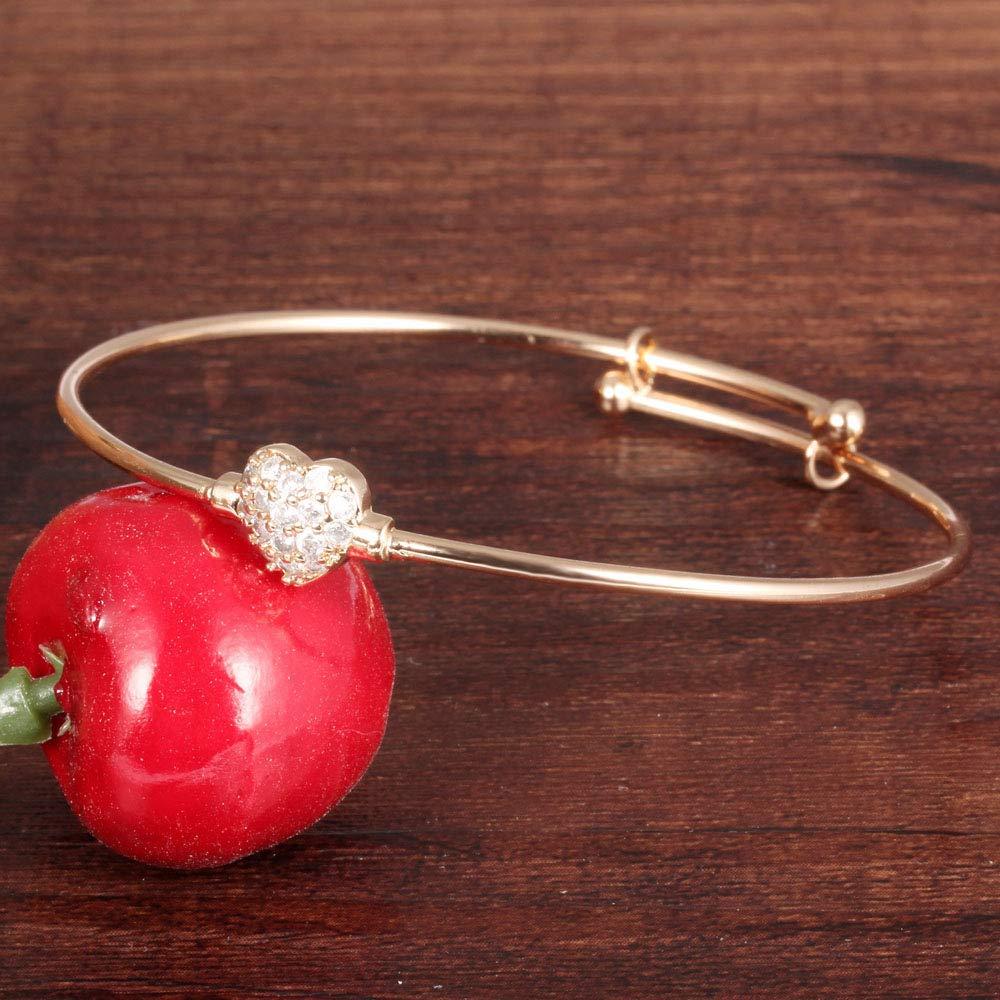 Hobbyant Gold-Plated Childrens Bracelets Copper Love Diamonds Push-Pull Open Bracelet