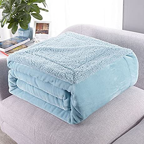 Znzbzt Coral Fleece Blanket Thick Twin Lambs Wool Blankets Sofa Blanket Blanket Single Flannel Lunch And 100x120cm Cover And Thick Mint Green