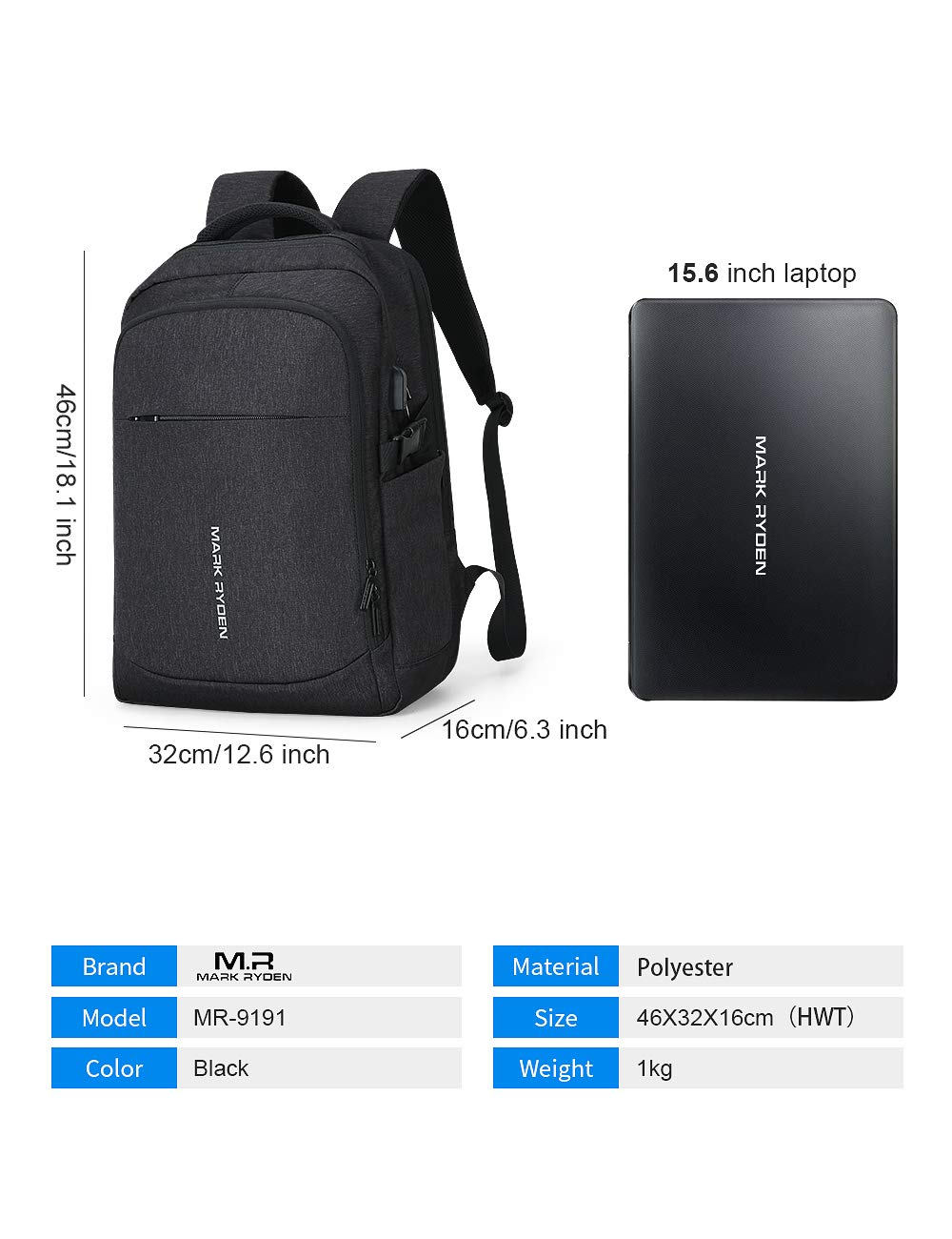 Markryden Laptop Backpack Business Bags with USB Charging Port Water-Proof School Travel Work Bag Fits 17.3 15.6 Inch Laptop