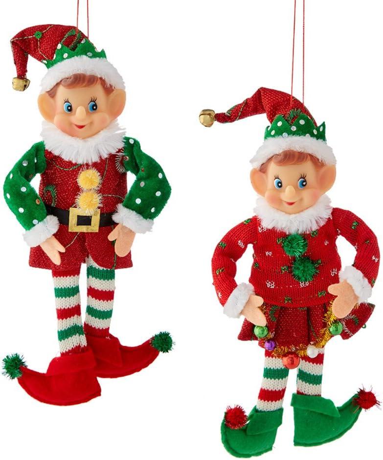 Amazon Com Kurt Adler 12 Stuffed Elf Christmas Ornament 2 Assorted Home Kitchen