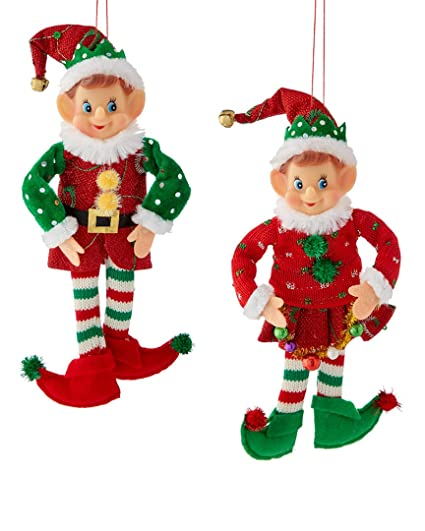 kurt adler 12 stuffed elf christmas ornament 2 assorted - Elf Christmas Decorations