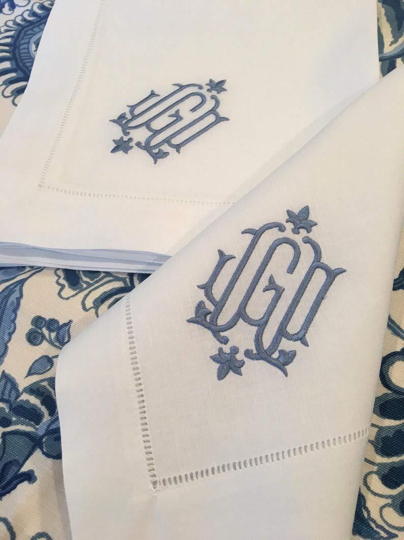 Wedding Napkins Monogrammed Linen//Cotton Napkin Embroidered Dinner or Cocktail Table Linens