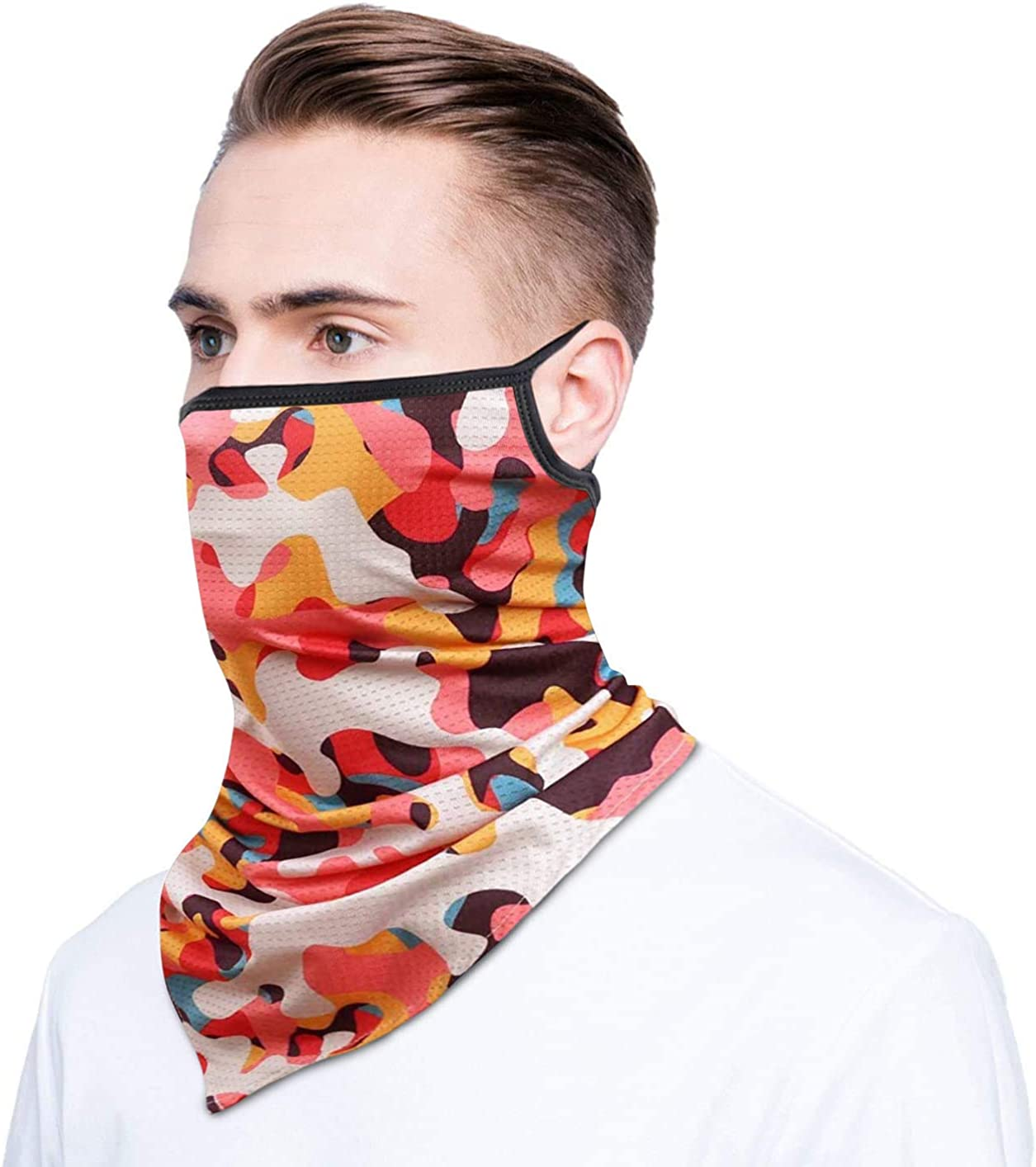 Arawell Neck Gaiter Face Cover UV Protection Dust Wind Bandana Balaclava Headwear for Outdoors with Ear Loops