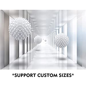 SUMGAR Custom 3D Wallpaper Living Room Large Space White Wall Murals Adhesive Non Woven Home Decor,100x144 in