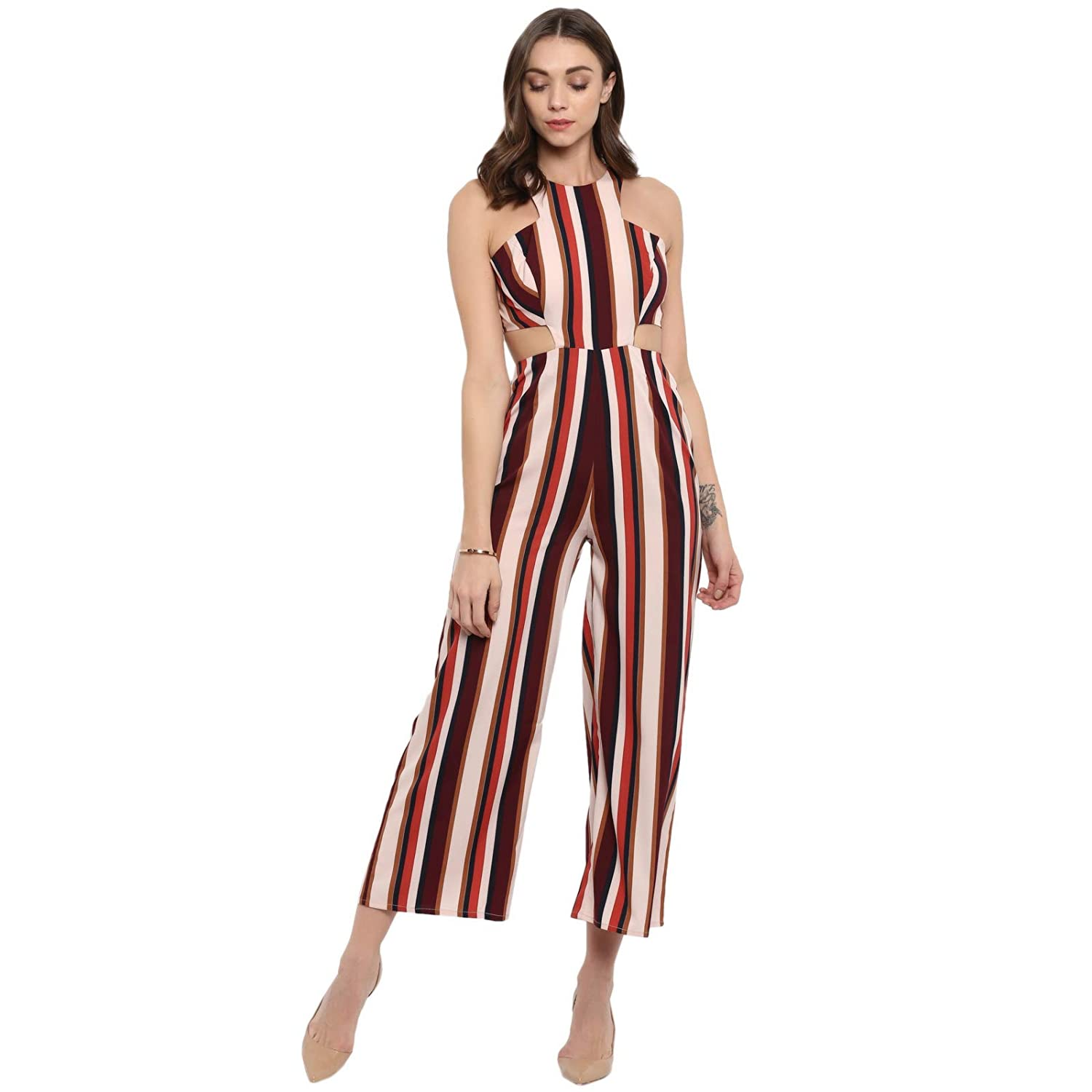 a455c4aea60 Spotstyl Tan Stripe trim dungaree jumpsuits for women stylish casual  jumpsuits for girls casual jumpsuits for women s western wear latest  western jumpsuits ...