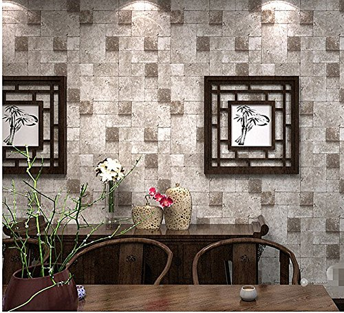 Blooming Wall Modern Cultural Brick Graphics Wallpaper Roll for Livingroom Bedroom, 20.8 In*32.8 Ft=57 Sq.ft,gray/brown