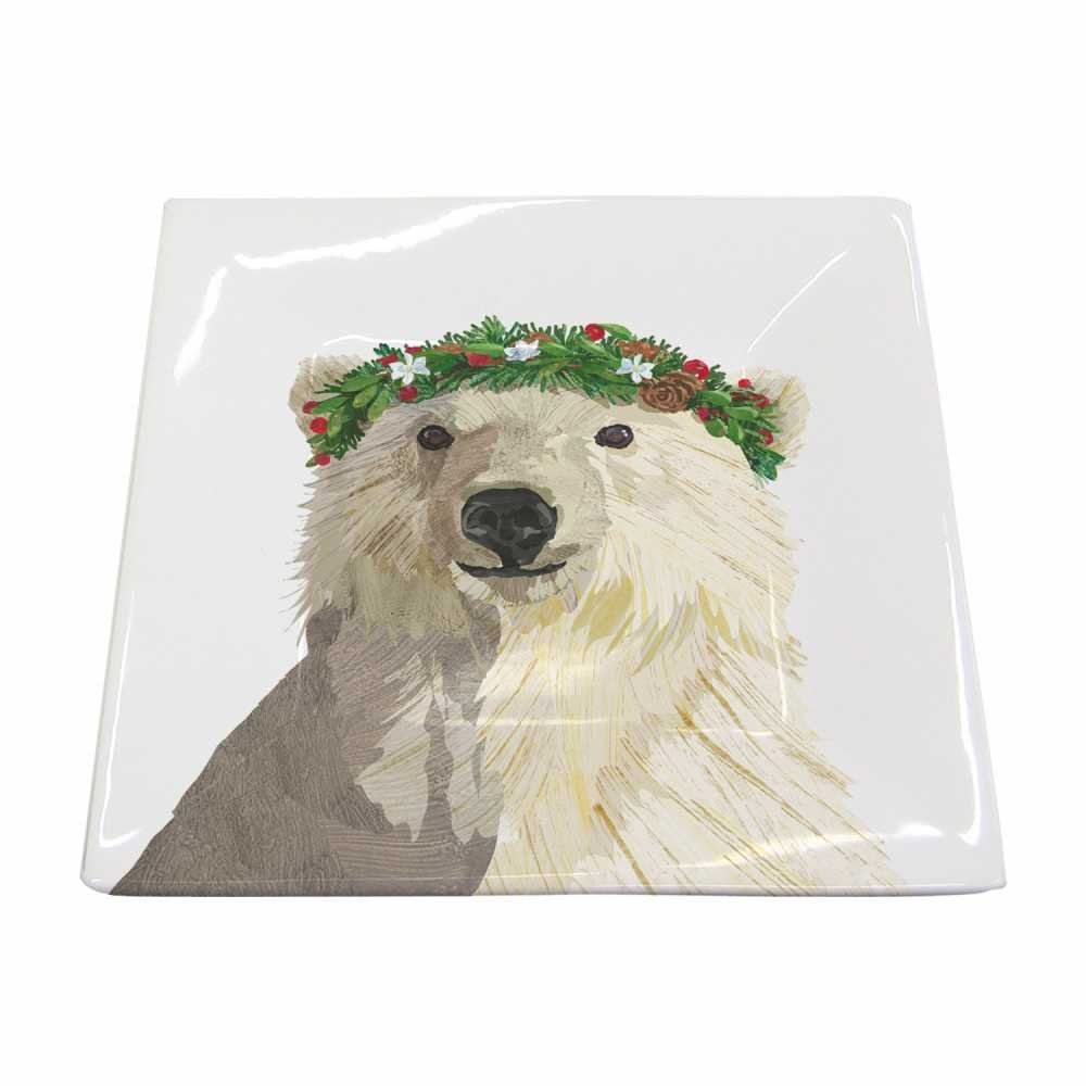 Paperproducts Design New Bone China Small Square Plate Featuring The Distinctive Glacier Bear Design, 5.75 x 5.75