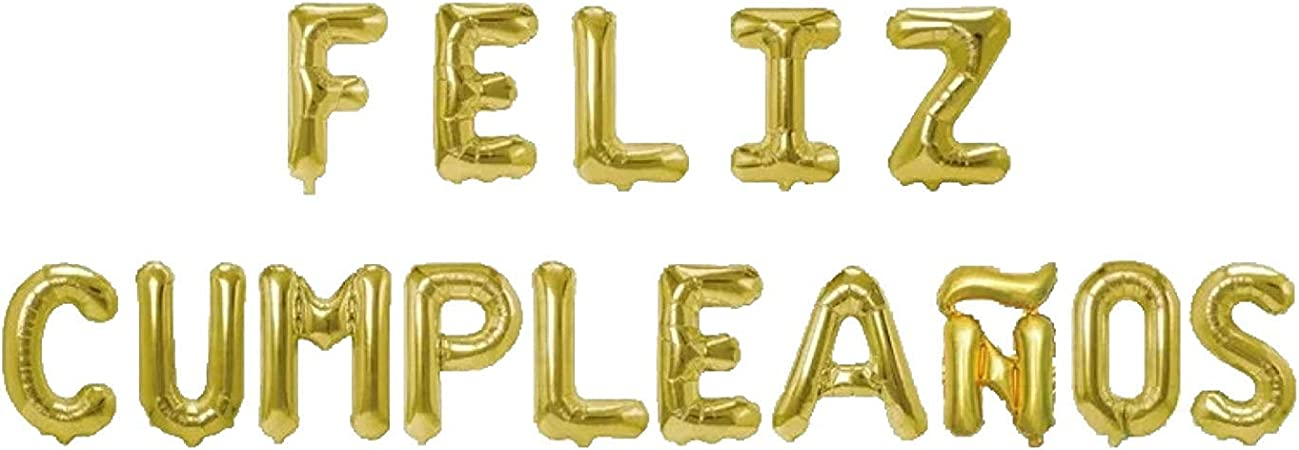 Feliz Cumpleaños 16 Inch Letter Foil Mylar Balloon Banner Kit by Zeylo Party Supply, Gold