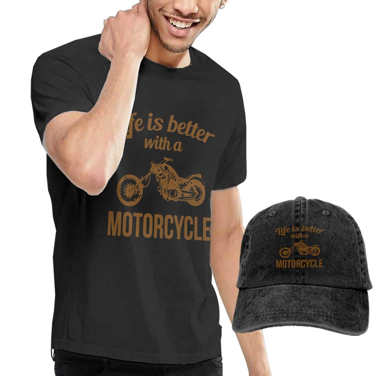 WWTBBJ-B Life is Better with A Motorcycle Adult Mens Summertime T-Shirt and Fishing Jean Hat