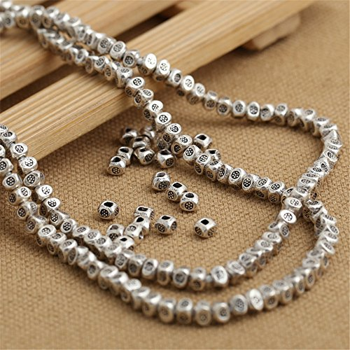 Luoyi 10pcs Handmade Thai Sterling Silver Square Beads, 4*3mm, Hole:1.5mm (S058G) (Thai Silver Beads)