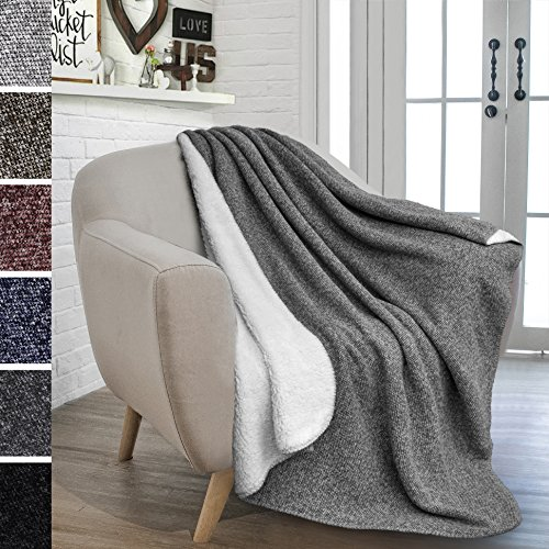 PAVILIA Sherpa Throw Blanket for Couch, Sofa, Chair | Fleece Weave, Super Soft, Plush, Reversible, Lightweight Microfiber | Melange Two-Tone Knit All Season Throw (50 x 60 inches, Light Gray) ()