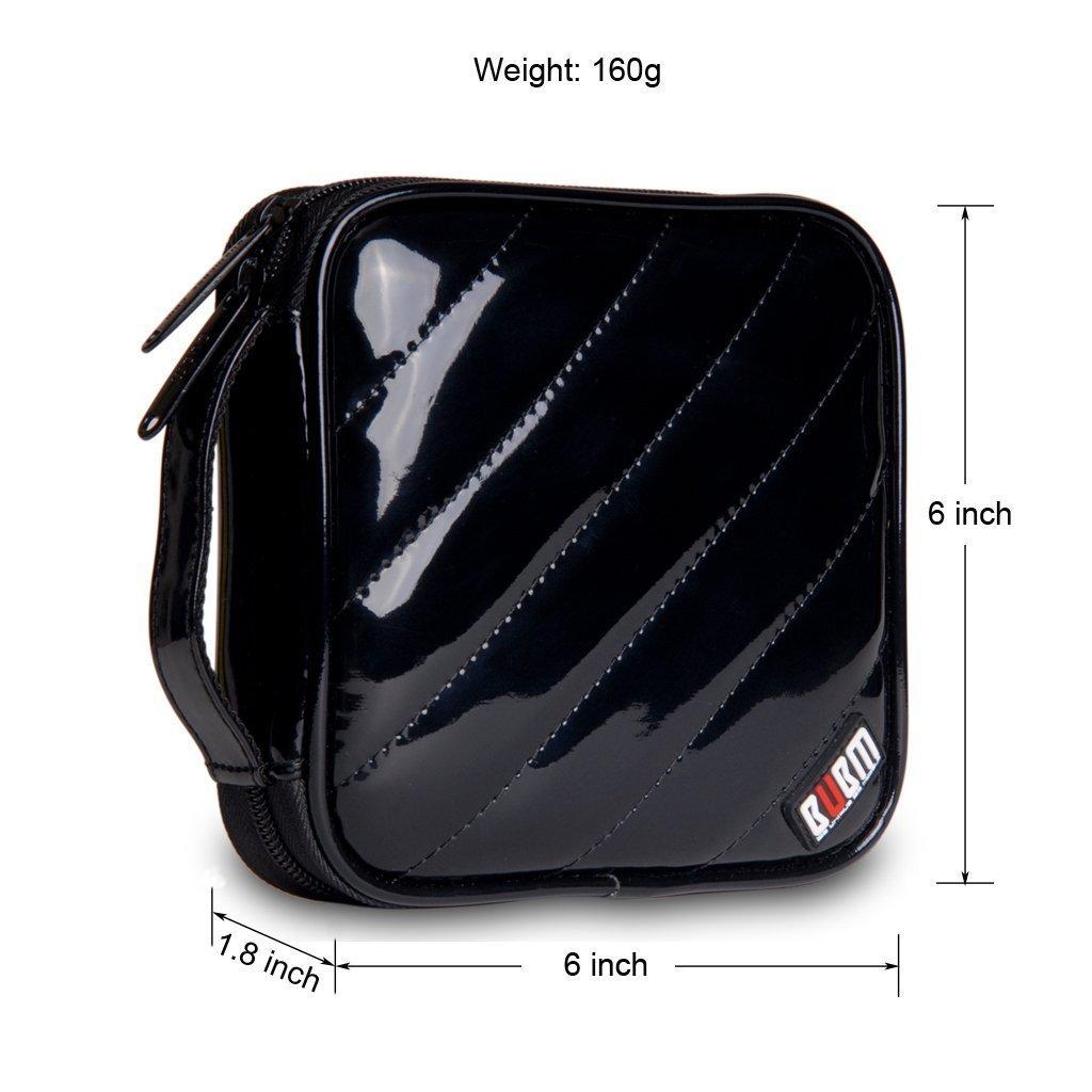 BUBM PU Smooth Leather Cover 32 Disc Case CD DVD Wallet Storage Organizer Travel Bag (Black) by BUBM (Image #5)