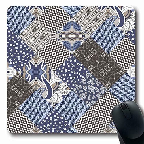 - Ahawoso Mousepads Chintz Blue Jeans Patchwork Pattern Vintage Abstract Motley Flower Rustic Arabic Asian Carpet Design Oblong Shape 7.9 x 9.5 Inches Non-Slip Gaming Mouse Pad Rubber Oblong Mat