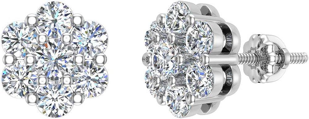 Cluster diamond earrings 14k Gold Flower Earrings 0.62 carat