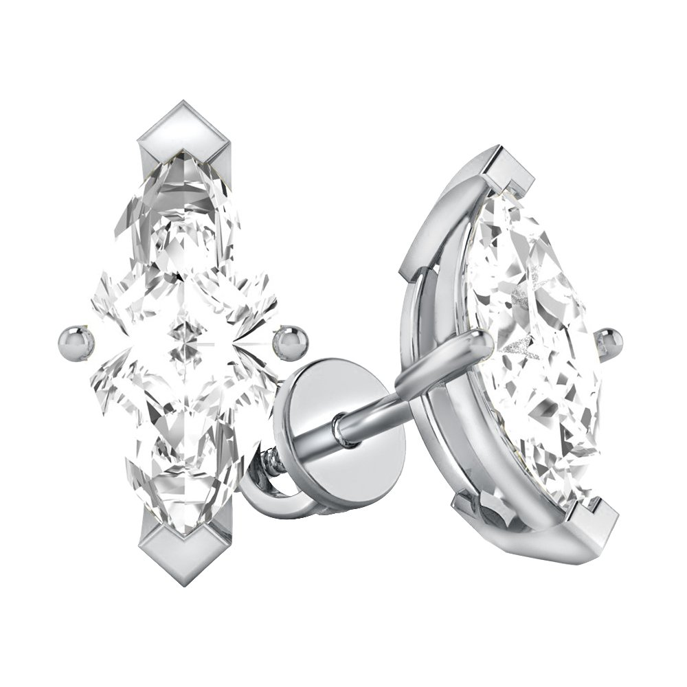 10K Gold Marquise-Shaped Natural Diamond 4-Prong Screw Back Stud Earrings For Women's (white-gold, 1.00)
