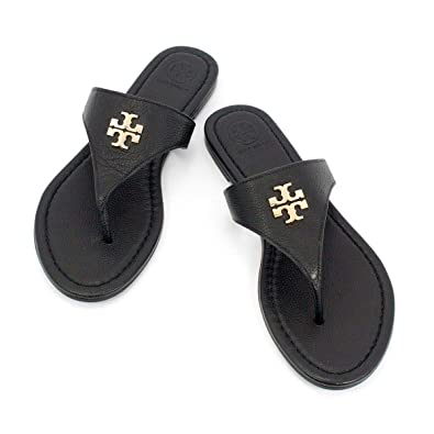 22d6fe864478bc Image Unavailable. Image not available for. Color  Tory Burch 48255 Jolie Flat  Thong Black Leather ...