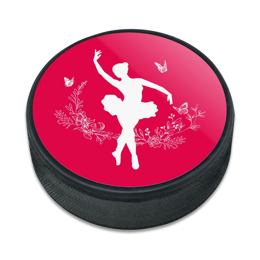 Ballerina Silhouette mit Schmetterlinge Eishockey Puck Graphics and More