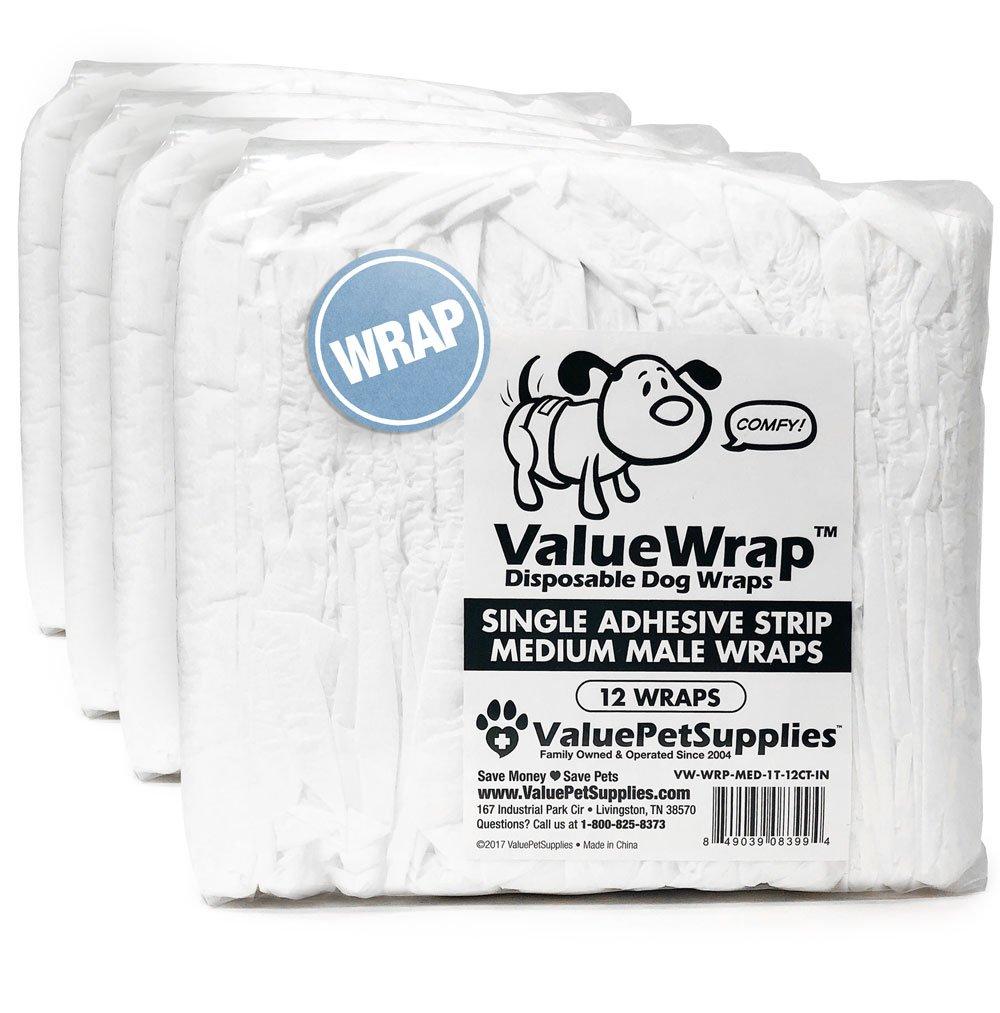 ValueWrap Male Dog Wraps, Single-Tab Medium, 48 Count