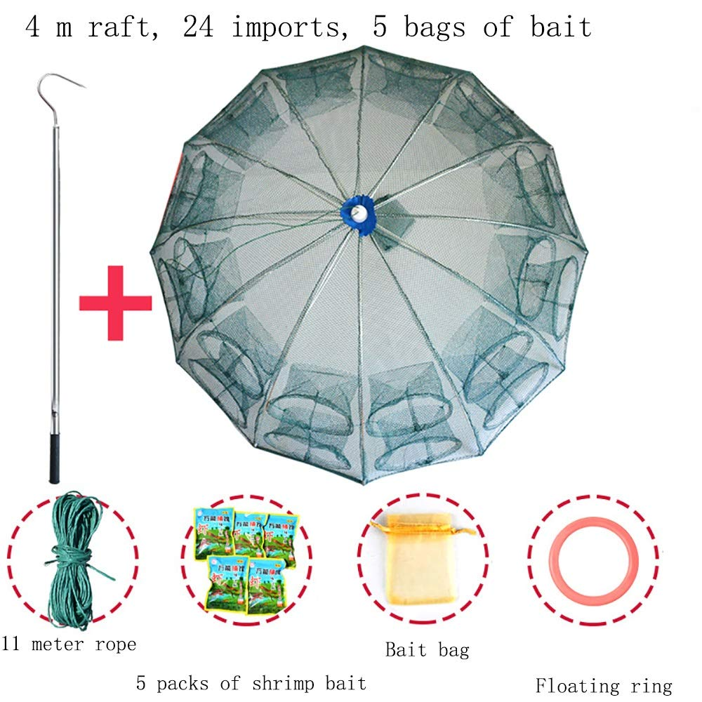 4M sticks+24 import+5 Portable Folding and Reinforced Fishing nets  Fishing Bait Traps, 23 Styles to Choose from.