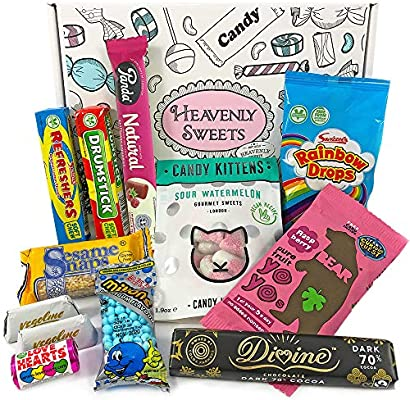 Heavenly Sweets Golosinas y Chocolate Veganos - Cesta de Regalo -Selección de Golosinas y Chocolates de EE.UU. - Navidad, Cumpleaños, San Valentín - ...