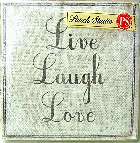 95692 Punch Studio Boutique 40 Ct Paper Cocktail Party / Beverage Napkins, Live Laugh Love Linen Inspire Script